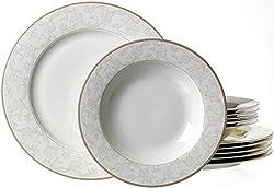 Ritzenhoff & Breker Tafelservice Isabella, 12-teilig, Fine-China-Porzellangeschirr, Weiß mit Ornamenten