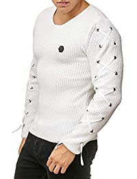 5da190460 Red Bridge Mens Longsleeve Pullover Slim Fit Casual Laced Up Designer  Winter Knit Jumper