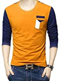 EYEBOGLER Regular Fit Men's Cotton T-Shirt (S-T24-ORNB, Orange-Navy Blue, Small)
