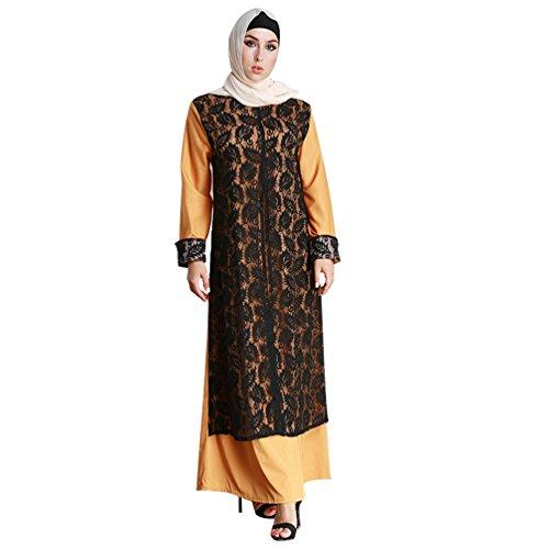 YAANCUN Damen Elegante Muslimische Fake zwei Stücke Islamische Kleidung Spitze Langarm Länge Abaya...