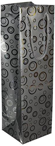 Les Couleurs de l'Emballage 20 Flaschentaschen mit Kordel und Glanz-Laminierung aus Metallpapier, 39 x 11 x 11 cm, motiv silberbläschen