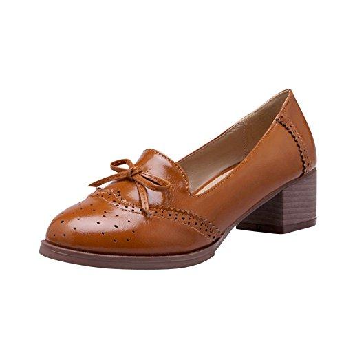 Mee Shoes Damen süß bequem dicker Absatz mit Schleife Geschlossen retro stil runde beruflich Blockabsatz Pumps (41, Braun)