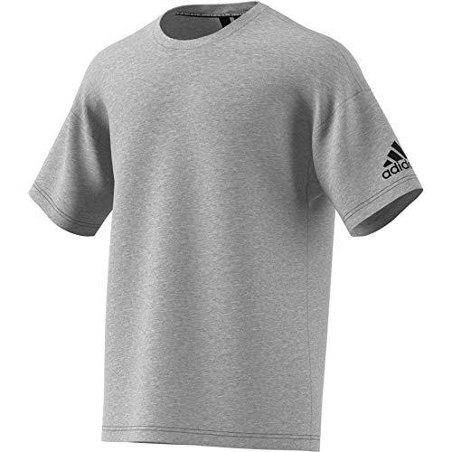 adidas Herren MH Plain Tee T-Shirt, medium Grey Heather, XS - Crewneck Heather Jersey T-shirt