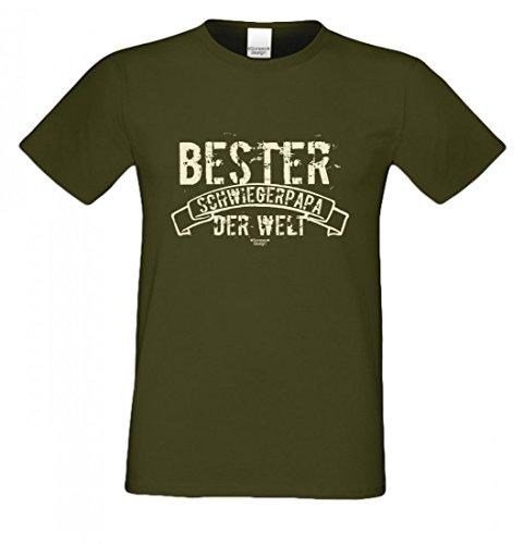 Family T-Shirt - Bester Schwiegerpapa der Welt - Hemd Als Geschenk oder Outfit für deinen Schwiegervater - Grün 2, Größe:XL