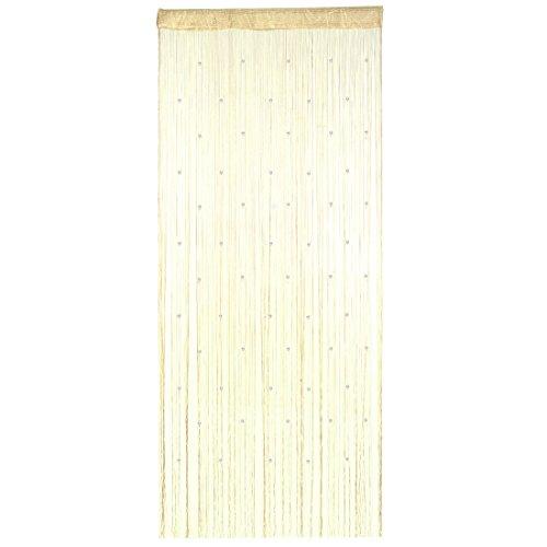 sourcingmap Polyester Tür Fenster String Perlen Vorhang Quaste Champagner Farbe 100 x 200 cm de (Trim Champagner-perlen)