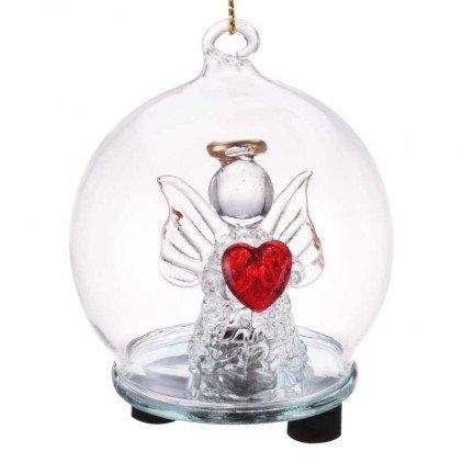 Boule en verre avec ange lumineux LED