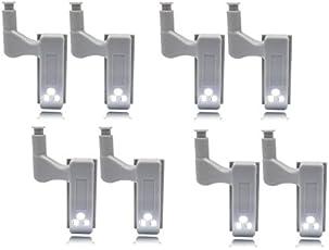 Amicikart 8 Pcs Wardrobe Cabinet Hinge Led Light ( No Wiring Required ) (8Pcs Led Light) With Battery
