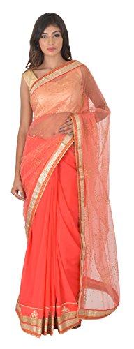 Nari Ratna Fashion Women\'s Net and Georgette Saree (Pink)