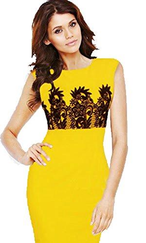 Schlank-Druck-Kleid Gelb