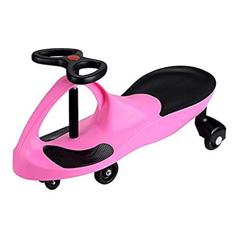 SWING CAR SWIVEL SLIDER KIDS FUN RIDE ON TOY PINK WIGGLE SCOOTER FOOT MAT NEW