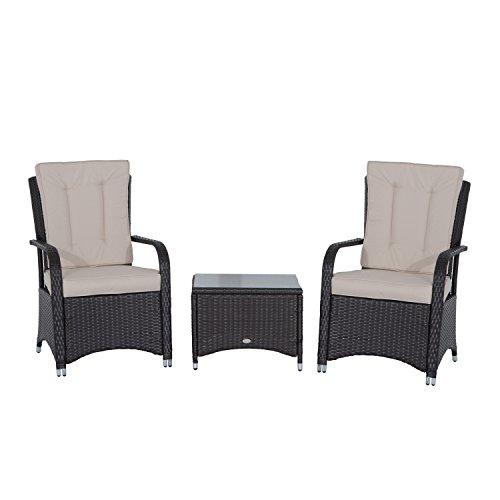 Outsunny Rattan Garden Furniture 3 PCs Sofa Chair Table Bistro Set Wicker Wea