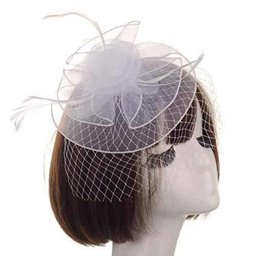 WYJHNL Fascinator Hüte für Frauen Flower Mesh Headwear mit Haarspange, Schleier und Federschmuck Tea Party Hüte für Frauen Hochzeit Cocktail Tea Party,White