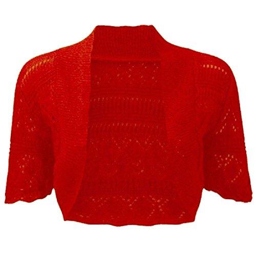 Nuovo donna Bolero Coprispalle Cardigan a maglia Crochet Top Taglia 8–14 Red