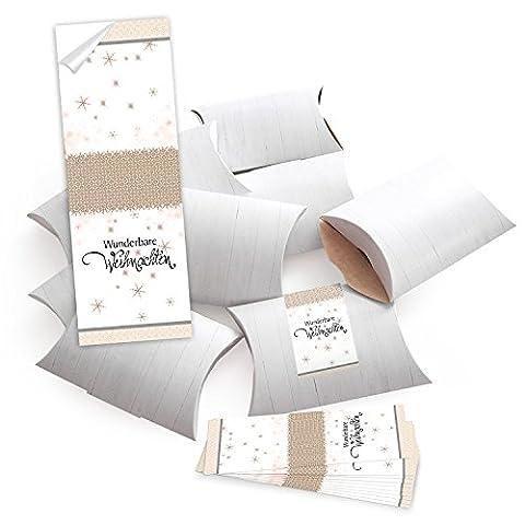 25 kleine Geschenkschachteln Geschenk-Boxen Kartons, weiß (14,5 x 10,5 + 3 cm Höhe) mit Aufkleber Banderole beige weiß schwarz WUNDERBARE WEIHNACHTEN - selber basteln und befüllen