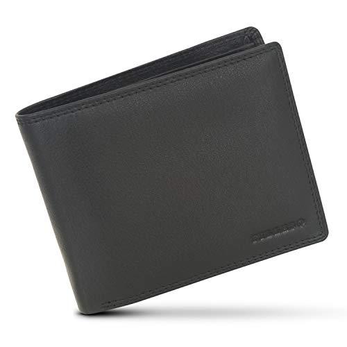 FILLASO Geldbeutel Männer aus Schwarzem Echtleder mit 8 Kartenfächern