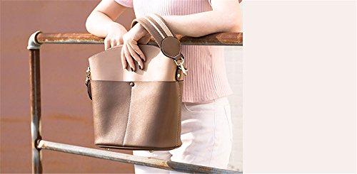 Xinmaoyuan Borse donna secchio di acqua Borsa Borsetta in pelle di grande capacità semplice in pelle colore Hit tracolla messenger bag,rosso con il nero Colore caramello