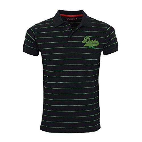 Derbe Herren College Striped Polo Shirt schwarz - fällt normal aus Schwarz Grün