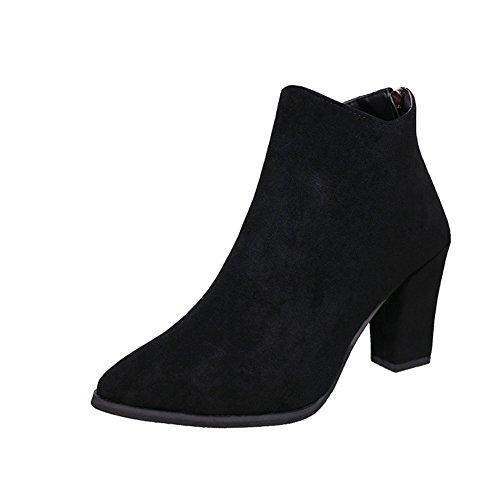 HOMEE Women 'S Short Boots mit groben und spitzen Rücken Zip Schuhe,38 Eu,Schwarz (Short Zip Boot)