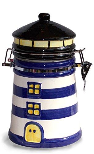 Unbekannt Maritimshop 54399 - Kaffeedose Leuchtturm, Blau Weiß Groß, für 500g Kaffee