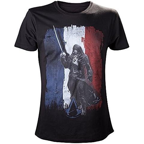 Assassin's Cred: Unity - camiseta de Arno Dorian sobre la bandera francesa - algodón, negra