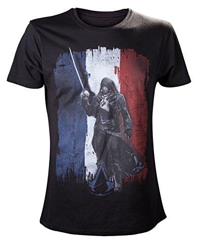 Assassin's Cred: Unity   camiseta de Arno Dorian sobre la bandera francesa   algodón, negra   M