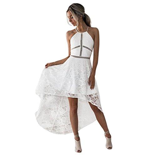 Hot! Damen Kleid Yesmile Frauen Spitze Hollow Festlich Partykleid Brautjungfer Sexy A Linie Cocktailkleid Elegant Ärmellos Nackenhalter Sommerkleid (S, Weiß) (Ein Gurt Brautjungfer Kleider)