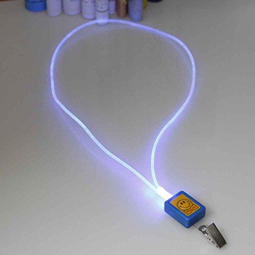 Sunlera 1 x LED Golow Seil Haken Namensschilder Licht Badge ID Halter Long Neck Strap -