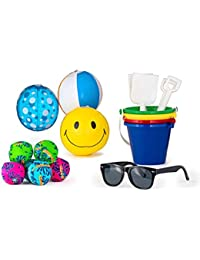 12 Sand Pail Beach Play Sets, 4.25 Pail And Shovel, Pair Of Sunglasses, 12 Beach Ball, And Splash Ba