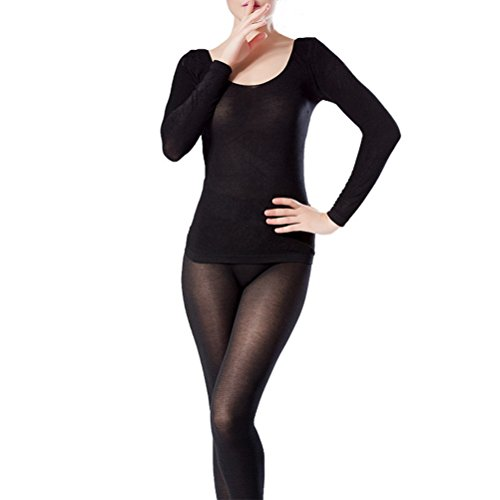 Zhhlaixing Donne Winter Warm Ultra-thin Seamless Thermal Underwear Suits Shirt and Pants Black