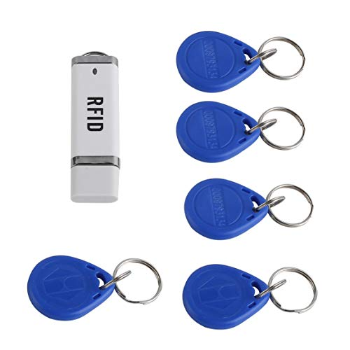 fghfhfgjdfj Mini Portable RFID 125KHz Proximity Smart EM Card USB ID Reader + 5 ID Key Buckles for Win XP/CE/7/10/Vista/Android - Proximity Card Reader