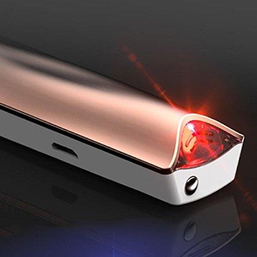 Feuerzeug elektronisch e-flame und Alkohol Test Feuerzeug winddicht USB Akku mit Alkoholtester dunkelgrau