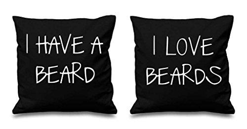 J'ai une Barbe I Love barbes Noir Housses de coussin 40,6 x 40,6 cm Couples Coussins Saint Valentin Anniversaire de mariage Chambre à coucher Coussin décoratif Maison