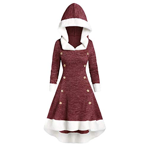 XNBZW Womens Long Sleeve Dress Vintage Dress Strappy Insert Mock Button Hooded Dress High Low Dress Midi Dress(Wine,S)