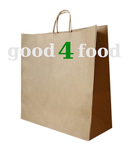200 Papiertragetaschen mit Kordel - Kordeltragetasche in braun 32+12x41 cm - good4food