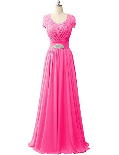 HUINI Pizzo Cap Sleeves V-Collo Chiffon Ballo di fine anno Vestiti da sera Nozze Formale Festa abiti Rosa caldo