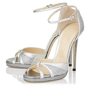 LvYuan Damen-Sandalen-Hochzeit Büro Kleid Lässig Party & Festivität-Kunstleder Mikrofaser-Stöckelabsatz-Andere-Silber Silver