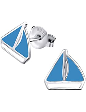 Ein Paar Kleine Blaue Segelboot Ohrstecker aus Sterling Silber (0,7 x 0,7) Inklusive Geschenkbox