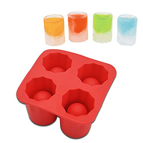 ELINKUME Ice Cube Eis Tray Ice Maker Becher Farbe Silikon für kühle Getränk DIY shot Brille Bar DIY Mould-Family Set (Rot)