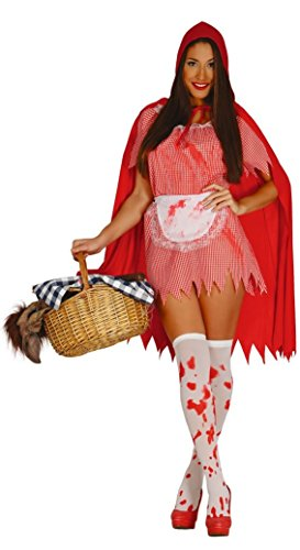 Killer Kostüm Womens Zombie - Ladies Killer Red Riding Hood Halloween Zombie Twisted Fairy Tale Blood Stained Fancy Dress Costume Outfit 14-18 (Large)