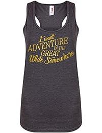 I Want Adventure In The Great Wide Somewhere - Dark Grey - Women's Racerback Vest - Fun Slogan Tank Top (X Small - UK Size 6-8, w/Gold)