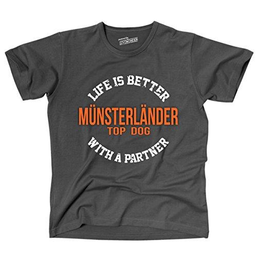 Siviwonder Unisex T-Shirt MÜNSTERLÄNDER - LIFE IS BETTER PARTNER Hunde Dark Grey