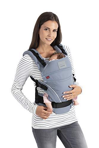XT > SoftCheck Blue < Ergonomische Babytrage verstellbar in Breite und Höhe, für Neugeborene & Kleinkinder von 3,5-20 kg (bellybutton by manduca Edition/blau mit Karomuster) ()