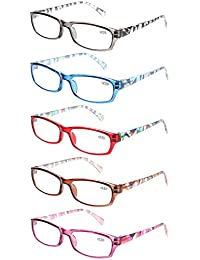 ac34a167817 Reading Glasses 5 Pairs Stylish Pattern Frame Readers Quality Fashion Ladies  Glasses for Women (+