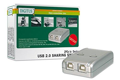 DIGITUS USB 2.0 Sharing Switch, 2 PCs - 1 Endgerät, Hot-Key, Umschaltung, kein Netzteil erforderlich, Win 7/8/Vista/XP, Mac OS ab 10.3, Linux