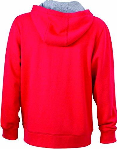 James & Nicholson Herren Lifestyle Zip-Hoody Sweatshirt Rot (Red/Grey- Heather