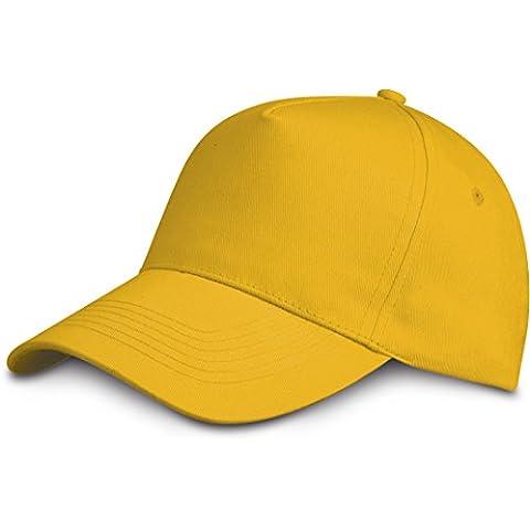 Cappellino da baseball 5 Chiusura a strappo unisex misura tanti colori - Unisex, Cotone, Giallo Chiaro