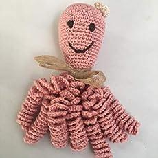 Pulpo de crochet para recien nacidos, pulpo amigurumi para bebés. Color rosa.