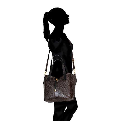 Frau Handtasche Pythonmuster mit großen Griffen und Schultergurt in echtem Leder Made in Italy Chicca Borse 30x24x13 Cm Dunkelbraun