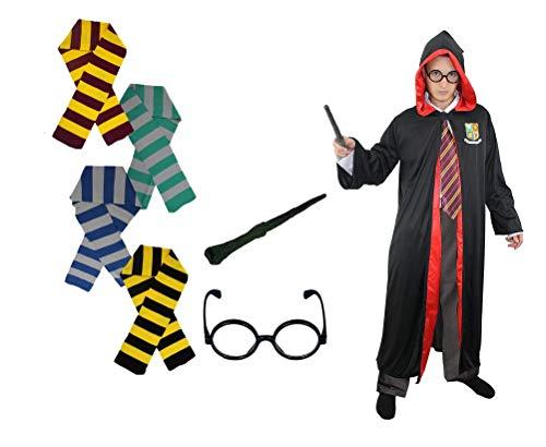 Lehrling Zauberer Kostüm - ILOVEFANCYDRESS Zauberer MÄNNER KOSTÜM VERKLEIDUNG+4 VERSCHIEDEN SCHALS=DIE Farben = GRÜN/GRAU & GELB/SCHWARZ & BLAU/GRAU UND Gold/ROT= 4 TEILEN = Robe+Brille +ZAUBERSTAB+SCHAL =BLAU/GRAU