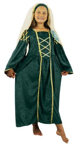 Mädchen Tudor Prinzessin Kostüm Fancy Kleid Grün Vergangene Zeiten Queen Kinder Mittelalter Prinzessin Renaissance Schule Lehrplan grün Velours Kleid + Kopfbedeckung mit Schleier